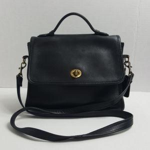 Vtg Coach Court Bag turn lock full grain leather